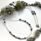 Long Black and Silver Pearl and Crystal  Necklace 20205N