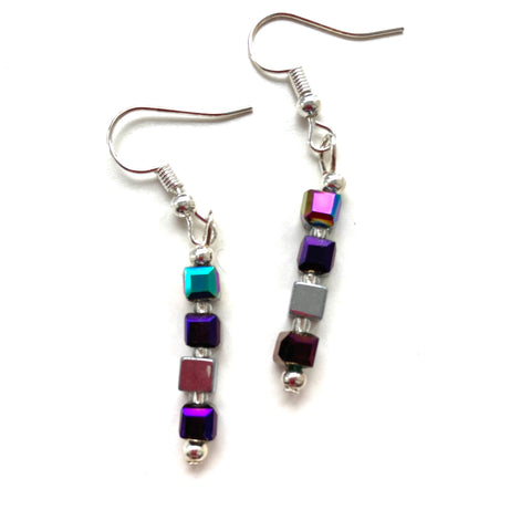 Silver and Purple Crystal and Hematite cube Earrings 20123ER
