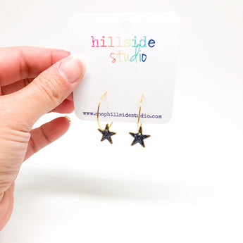 Hoop Earrings with Galaxy Glitter Stars