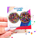 Emily Studs -Rose Gold with Rainbow Glitter