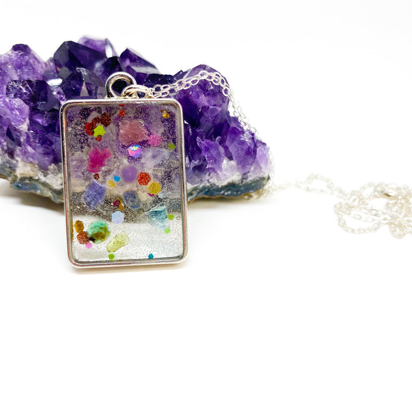 Rainbow Confetti Gemstone Necklace - Silver {The Gemstone Collection}
