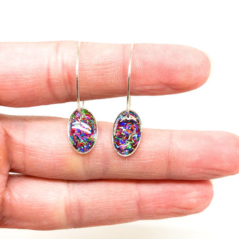 Hoop Earrings with Rainbow Holographic Glitter Ovals