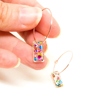 Hoop Earrings with Rainbow Glitter Rectangles - Rose Gold