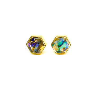 Gemstone Collection - Brass Hexagon Studs - Abalone