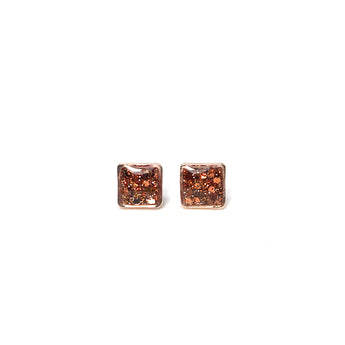 Rose Gold Glitter Small Square Studs