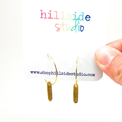 Hoop Earrings with Gold Glitter Bars