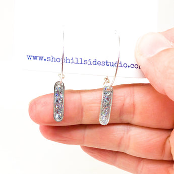 Hoop Earrings with Silver Glitter Bars