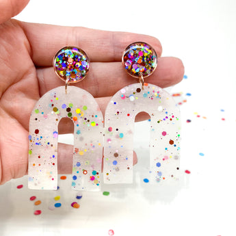 Kate Earrings - Rainbow Glitter