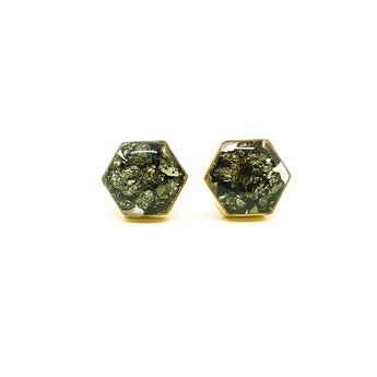 Gemstone Collection - Brass Hexagon Studs - Pyrite