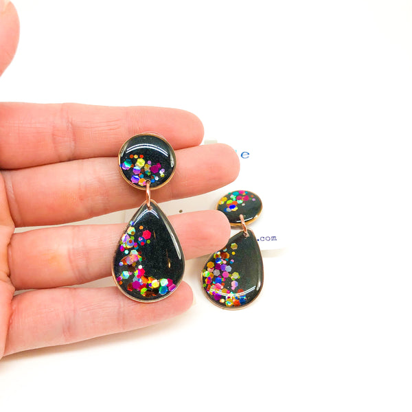 Sara Drop Earrings -  Rainbow Glitter-Dipped