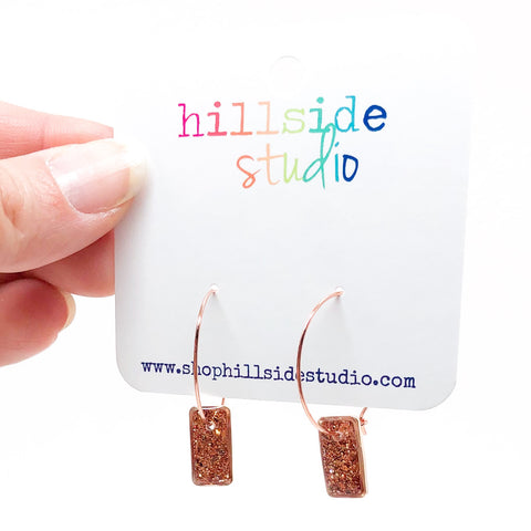 Hoop Earrings with Rose Gold Glitter Rectangles