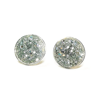 Large Silver Glitter Studs