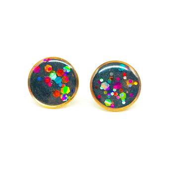 Large Charcoal Rainbow Glitter Dipped Studs - Rose Gold