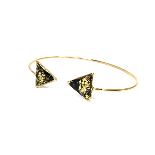 Black Glitter-Dipped Triangle Cuff Bracelet - Gold