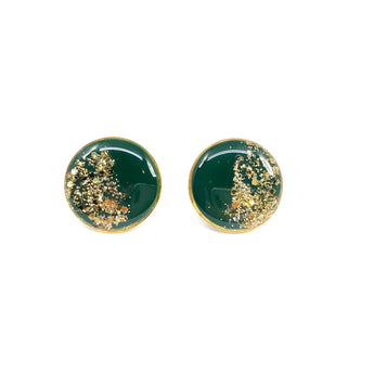 Large Forest Green Glitter Dipped Studs - Gold
