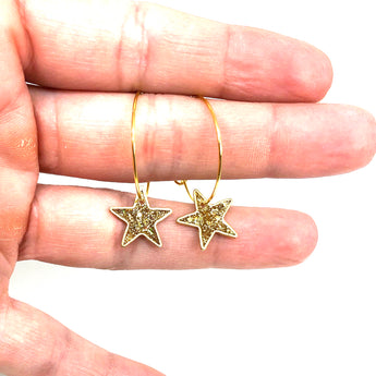 Hoop Earrings with Gold Glitter Stars