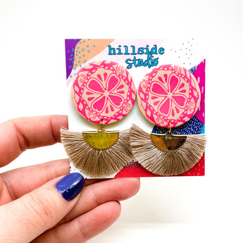 Lola Earrings -  Hot Pink Lace