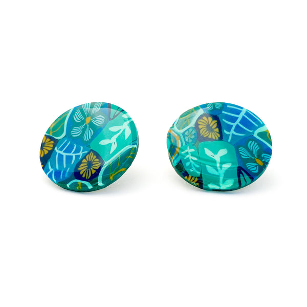 Zoey Clay Studs -  Green Botanical