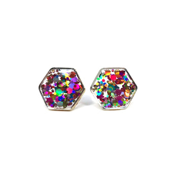Large Rainbow Glitter Hexagon Studs -Silver