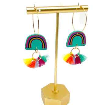 Parker Earrings - Aqua Rainbow