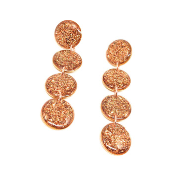 Kris Drop Earrings -  Rose Gold Glitter