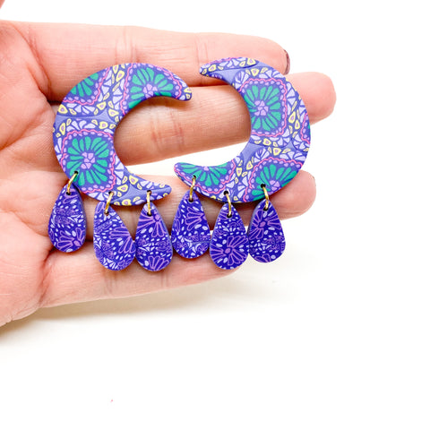 Luna Earrings -  Mardi Gras