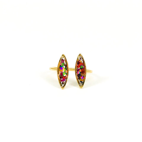 Rainbow Glitter Adjustable Ring - Gold