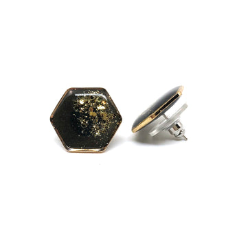 Large Black Glitter Dipped Studs - Gold Hexagons