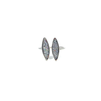 Silver Glitter Adjustable Ring