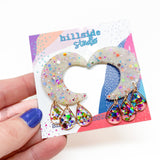 Luna Earrings -  Rainbow Glitter