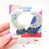 Luna Earrings -  Gunmetal Holographic Glitter