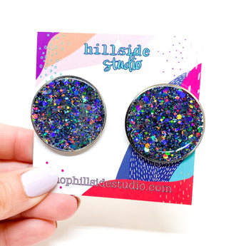 Emily Studs - Silver with Holo Gunmetal Glitter