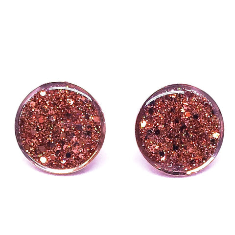 Large Rose Gold Glitter Studs