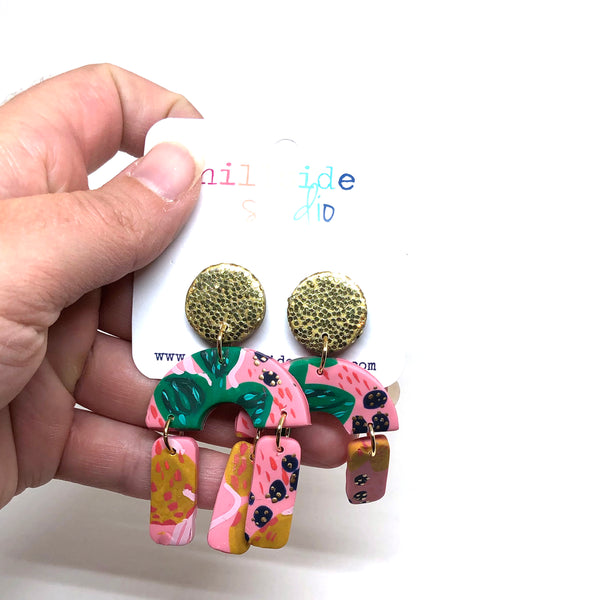 Nadya Drop Earrings -  Leafy + Pink + Gold