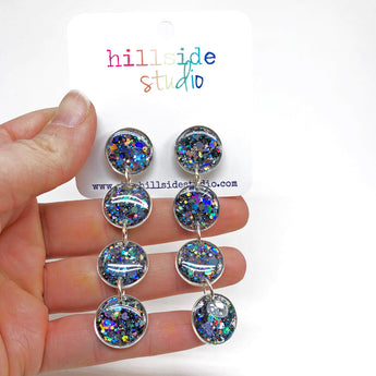 Ultra Luxe Glitter Quadruple Drop Earrings -  Silver with Holo Gunmetal Glitter