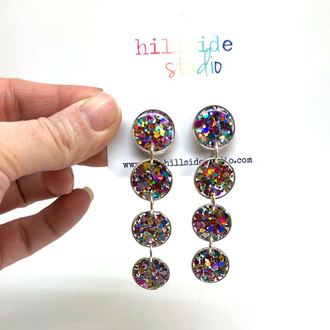Ultra Luxe Glitter Quadruple Drop Earrings -  Silver with Rainbow Glitter