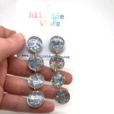 Ultra Luxe Glitter Quadruple Drop Earrings -  Silver Star Glitter