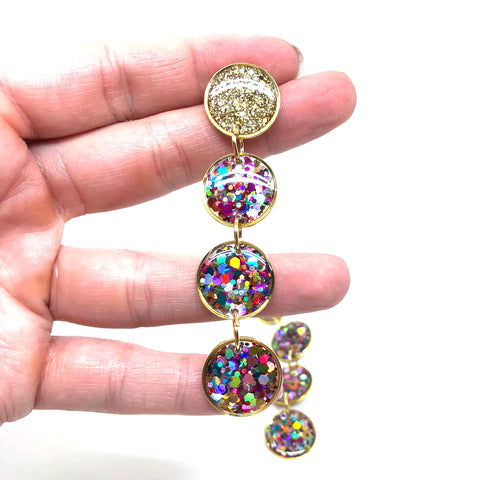 Ultra Luxe Glitter Quadruple Drop Earrings - Gold & Multi Glitter
