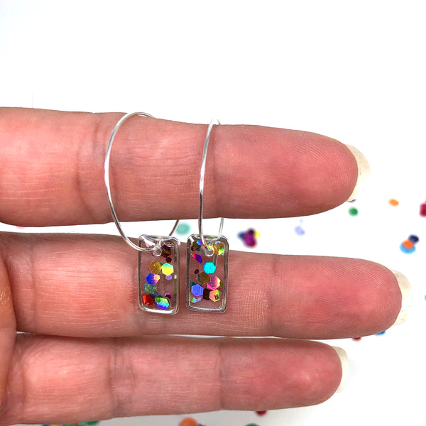 Hoop Earrings with Rainbow Glitter Rectangles - Silver