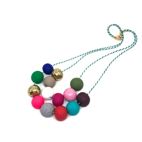 Colorful Beaded Necklace - Two Strand #2