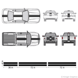 "Illustration of a 4"" Racing Stripe kit applied to cars and trucks."