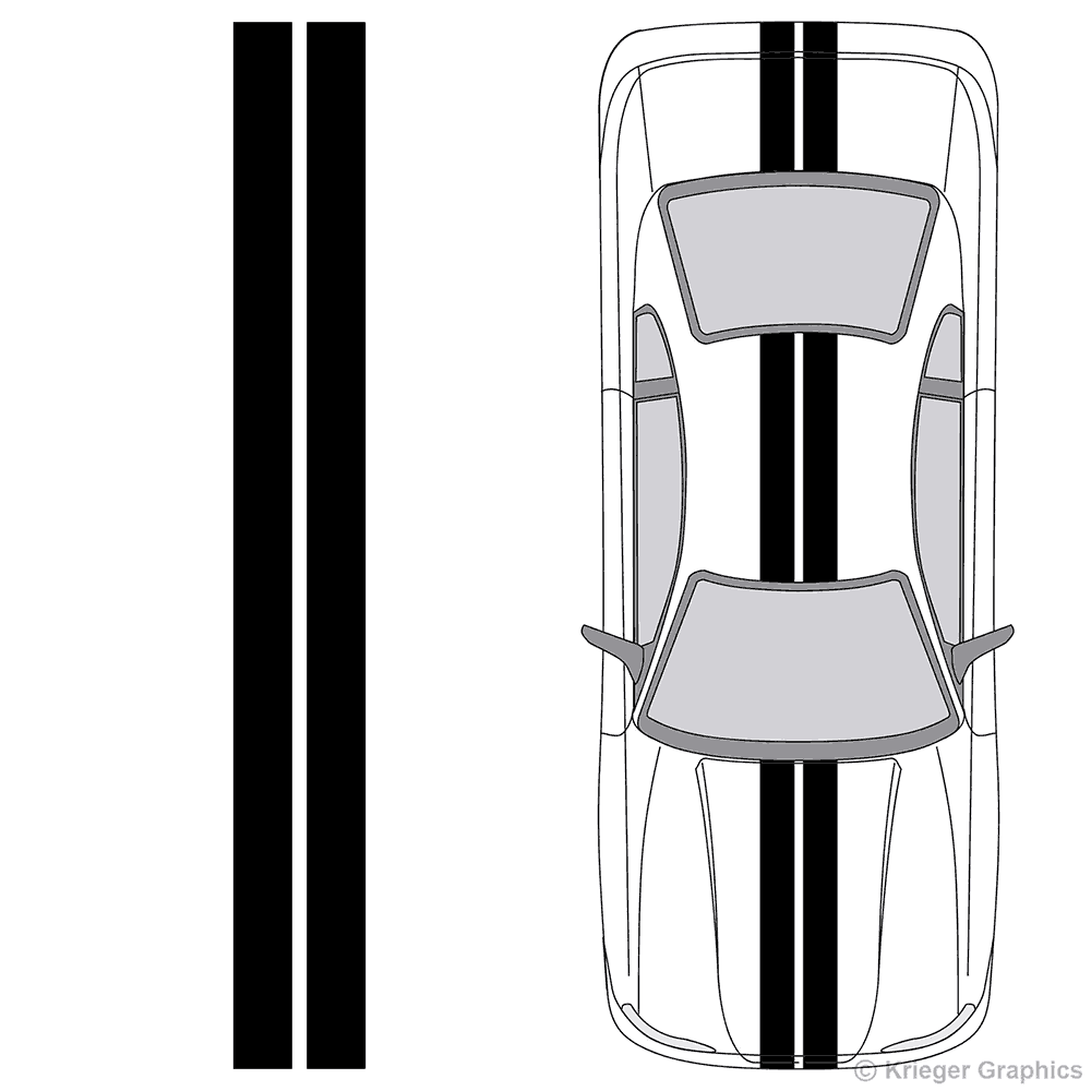 "Illustration of 6"" Solid Racing Stripes on a car."
