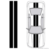 "Illustration of 8"" Solid Racing Stripes on a car."