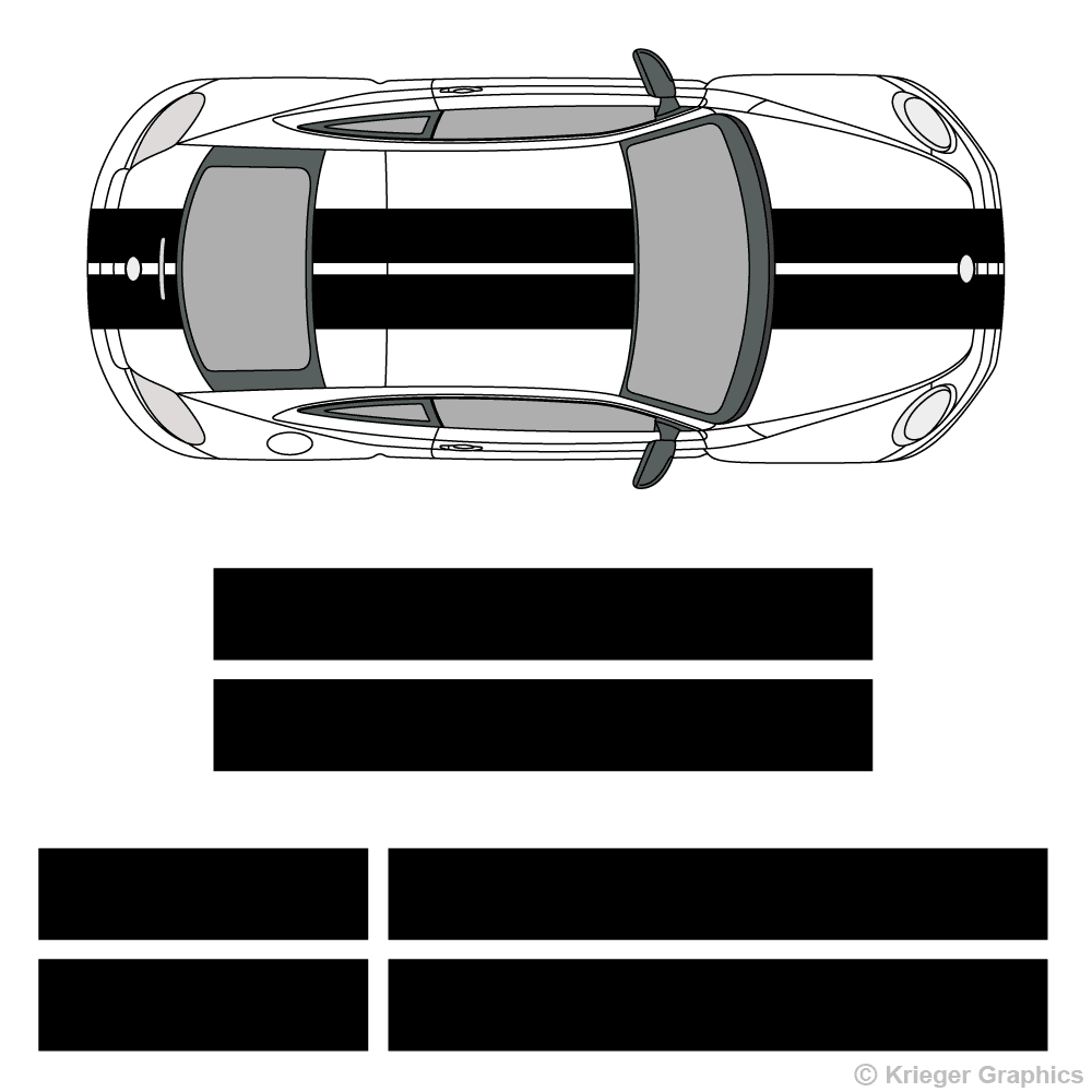 "Top view of 10"" stripes on a new Volkswagen Beetle"
