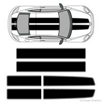 Top view of EZ rally stripes on a new Volkswagen Beetle