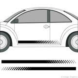 Driver's side view of faded rocker stripes on a Volkswagen Beetle