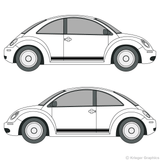 Both side views of rocker stripes on a Volkswagen Beetle