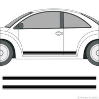 Driver's side view of rocker stripes on a Volkswagen Beetle