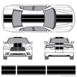 Front and rear view of dual rally stripes on a new Dodge Charger