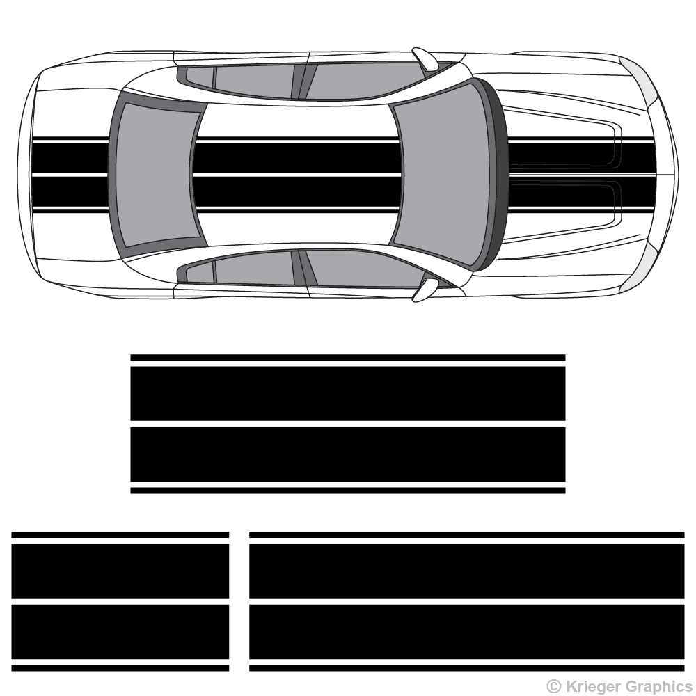 Top view of dual rally stripes on a new Dodge Charger